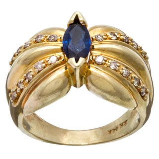 14k Gold Sapphire 1/4ct TDW Diamond Estate Ring (H-I, SI1-SI2)