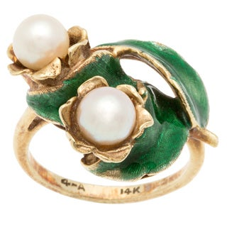 14k Yellow Gold Enameled Leaf and Center Pearl Estate Ring (FWP 5-6mm)