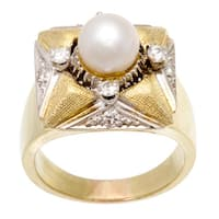 Pre-owned 14K Yellow Gold 1/2ct TDW Diamond and Pearl Cocktail Ring (H-I, VS1-VS2)