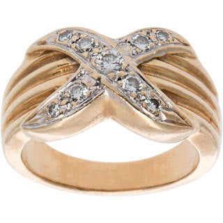 14k Yellow Gold .20ct TDW X Style Diamond Estate Ring (H-I, SI1-SI2)