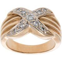 14k Yellow Gold .20ct TDW X Style Diamond Estate Ring (H-I, SI1-SI2)