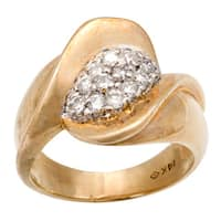 Pre-owned 14K Yellow Gold 1/3ct TDW Clustered Diamond Cocktail Ring (G-H, VS1-VS2)