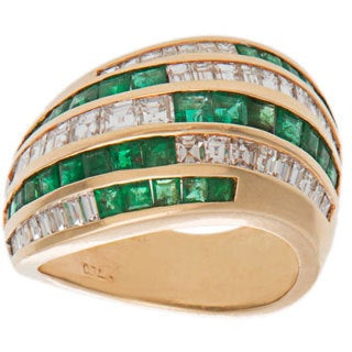18k Yellow Gold 1.25ct TDW Invisible-set Diamonds and Emerald Wide Band Ring (G-H, VS1-VS2)