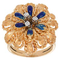 18k Yellow Gold 1/10ct TDW Diamond and Enamel Flower Cocktail Ring (G-H, SI1-SI2) (Size 7.75)