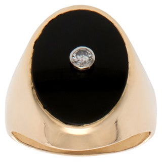 Pre-owned 14K Yellow Gold 1/10ct TDW Onyx Estate Ring (H-I, SI1-SI2) (Size 12)