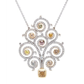 18K White Gold 4 1/4ct TDW Flowing Vine Diamond Pendant (H-I, SI1-SI2)