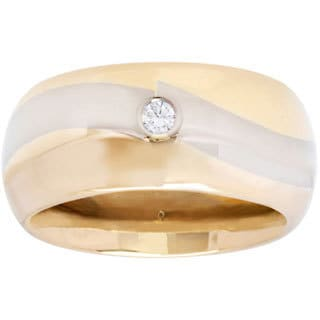 18K Two-tone Gold Wide Wedding Band Estate Ring (G-H, SI1-SI2)