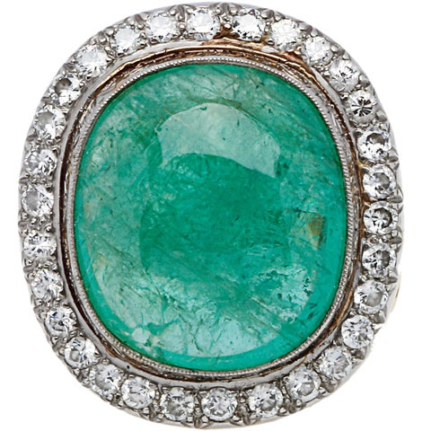 18K Yellow Gold 1 1/2ct TDW Giant Emerald and Diamond Estate Cocktail Ring (H-I, SI1-SI2)