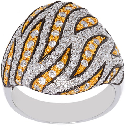 14K Two-tone Gold 1 1/4ct TDW Micropave Bengal Pattern Cocktail Ring (H-I ,SI1-SI2)