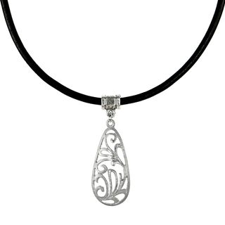 Jewelry by Dawn Brushed Pewter Filigree Teardrop Greek Leather Cord Necklace