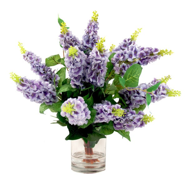 Shop creative displays lavender lilac silk flowers in acrylic water creative displays lavender lilac silk flowers in acrylic water filled glass vase mightylinksfo