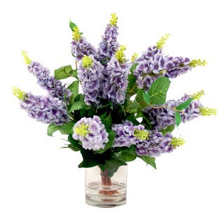 Acrylic artificial plants for less overstock creative displays lavender lilac silk flowers in acrylic water filled glass vase mightylinksfo