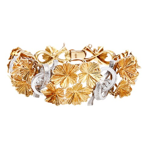 18K Two-tone Gold Florentine Finish Flower Estate Bracelet