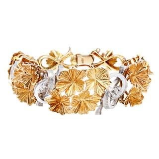 18K Two-tone Gold Florentine Finish Flower Estate Bracelet
