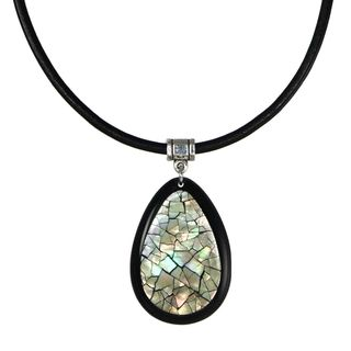 Jewelry by Dawn Inlaid Shell Teardrop Greek Leather Cord Necklace
