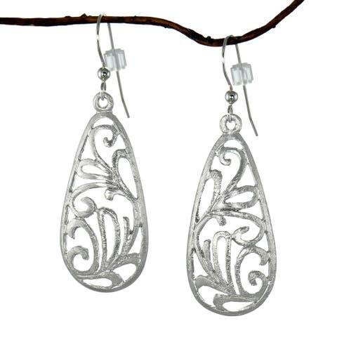 Handmade Jewelry by Dawn Brushed Pewter Filigree Teardrop Dangle Earrings (USA)