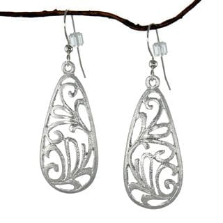 Jewelry by Dawn Brushed Pewter Filigree Teardrop Dangle Earrings