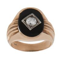 Pre-owned 14K Yellow Gold 1/2ct TDW Solitaire Diamond Onyx Ring (G-H, SI1-SI2) (Size 9.25)