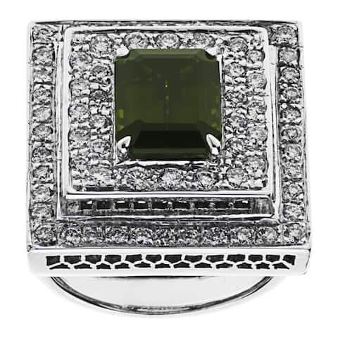 14K White Gold 2ct TDW Tourmaline Estate Cocktail Ring (H-I, VS1-VS2)