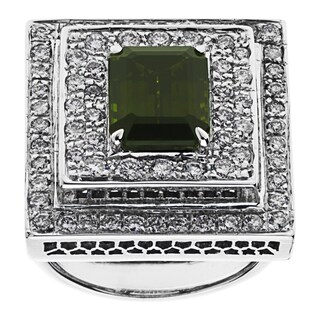14K White Gold 2ct TDW Tourmaline Estate Cocktail Ring (H-I, VS1-VS2) (Size 7)