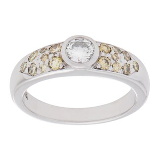 Pre-owned 14K White Gold 1/3ct TDW White and Yellow Diamond Band Ring (H-I, VS1-VS2)