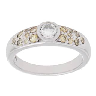Pre-owned 14K White Gold 1/3ct TDW White and Yellow Diamond Band Ring (H-I, VS1-VS2)|https://ak1.ostkcdn.com/images/products/9833325/P16997047.jpg?impolicy=medium