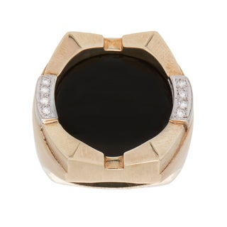 Maurice Katz 14K Yellow Gold 1/10ct TDW Giant Onyx Crown Estate Ring (H-I, SI1-SI2) (Size 11)