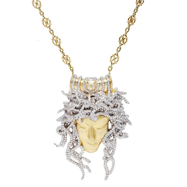 18k Yellow Gold 4.75ct TDW Giant Medusa Diamond Estate Necklace (G-H/Yellow, VS1-VS2)
