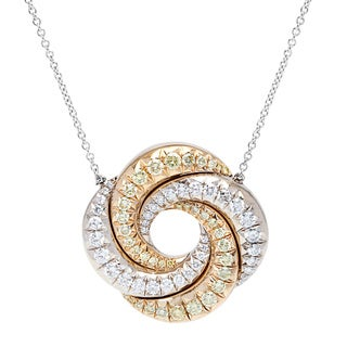 18k Two-tone Gold 2.5ct TDW Swirl Diamond Estate Pendant (Fancy Yellow/G-H, VS1-VS2)