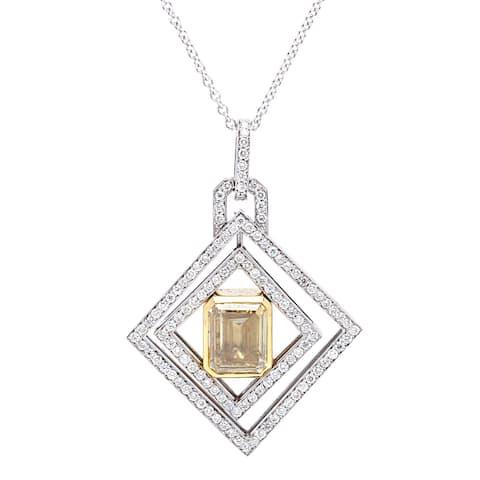 18k White Gold 2.5ct TDW Micropave Diamond-shape Pendant (Fancy Yellow, SI1-SI2)