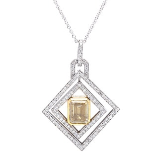18k White Gold 2.5ct TDW Micropave Diamond-shape Pendant (Fancy Yellow, SI1-SI2)