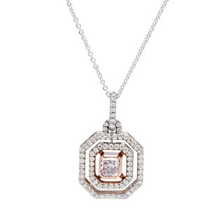 18K White Gold 1 1/4ct TDW Octagonal Micropave Diamond Pendant (G-H, VS1-VS2)