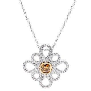 18k White Gold 1.5ct TDW Fancy Diamond Snowflake Pendant (Cognac, VS1-VS2)