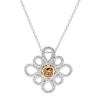 18k White Gold 1.5ct TDW Fancy Diamond Snowflake Pendant (Cognac, VS1-VS2)