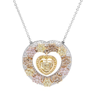 18k White Gold 4ct TDW Pendulum Heart Pave Diamond Pendant (G-H / Yellow / Pink / Brown, VS1-VS2)