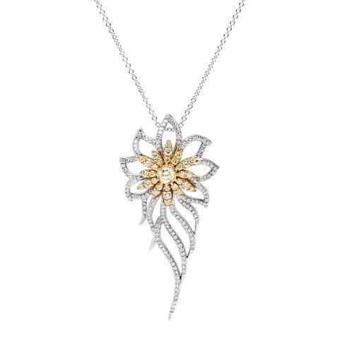 18k White Gold 2ct TDW Leaf and Flower Diamond Pendant (Yellow/G-H, VS1-VS2)
