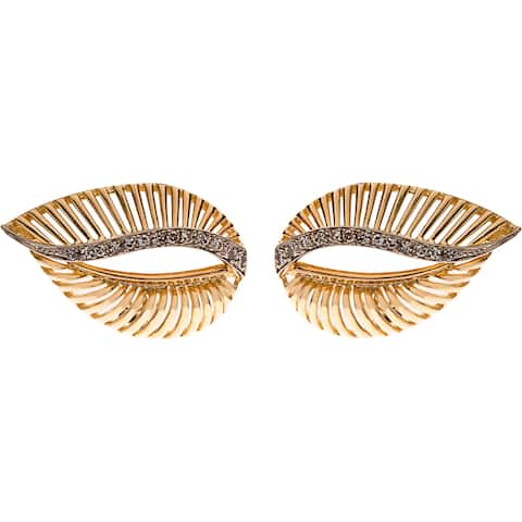 18K Yellow Gold 1/3ct TDW Estate Leaf Earrings (I-J, SI1-SI2)