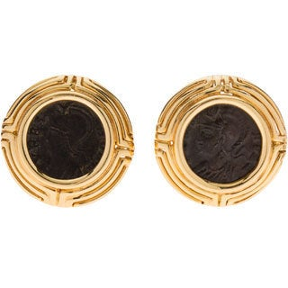 Pre-owned 18K Yellow Gold Antique Roman Coin Clip Earrings