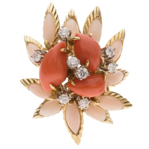 18K Yellow Gold 1ct TDW Giant Coral Estate Clip Earrings