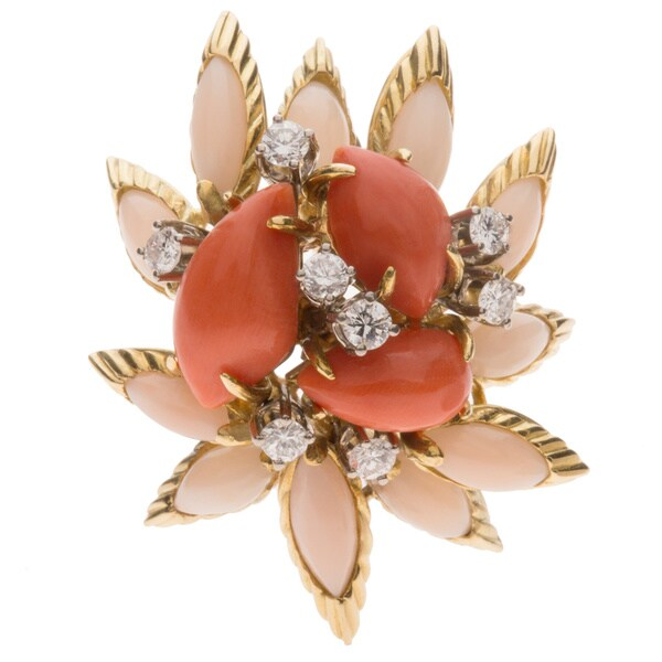 Pre-owned 18K Yellow Gold 1ct TDW Giant Coral Estate Clip Earrings (H-I, VS1-VS2)