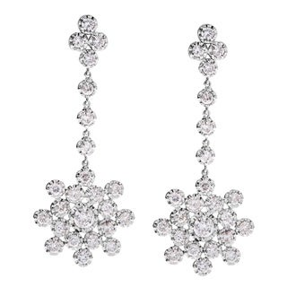 Pre-owned 14K White Gold 2 1/2ct TDW Snowflake Dangling Estate Earrings (G-H, SI3)