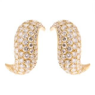 18K Gold 14ct TDW Spiral Diamond Clip Earrings (G-H, VS1-VS2)