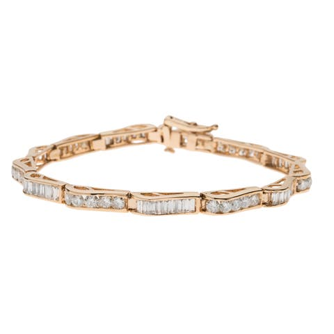 14K Yellow Gold 6ct TDW Round and Baguette Diamond Sequence Bracelet (G-H, VS1-VS2)