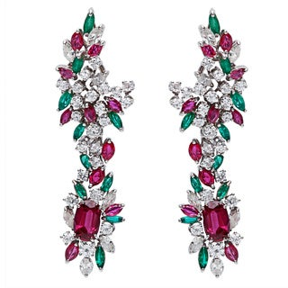 18k White Gold 5 1/2ct TDW Diamond and Gemstone Dangling Estate Earrings (G-H, SI1-SI2)