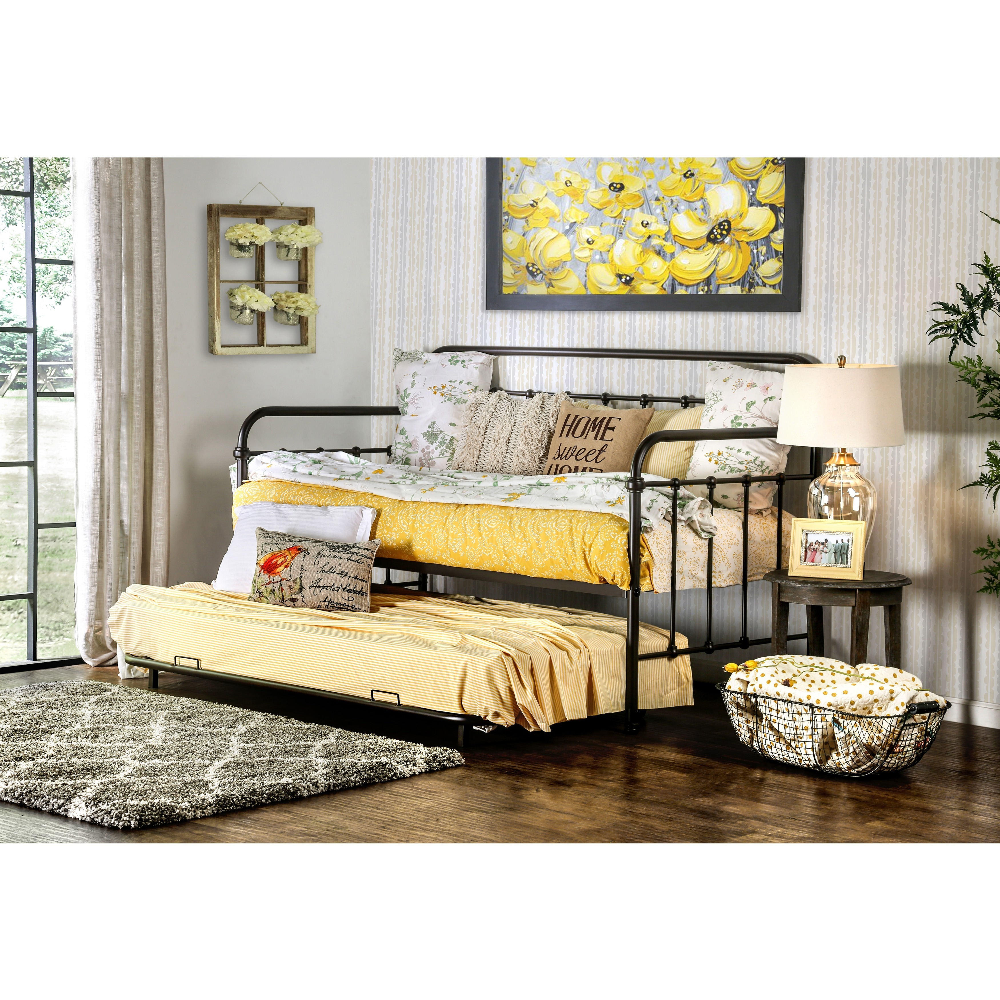 Furniture of America Lissa Modern 2-Piece Metal Daybed wi...