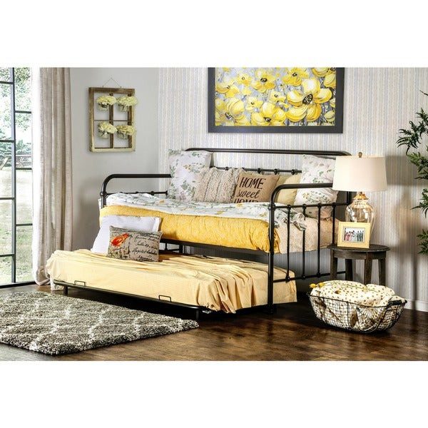 shop lissa modern twin 2 piece daybed with trundle set by foa on sale free shipping today. Black Bedroom Furniture Sets. Home Design Ideas