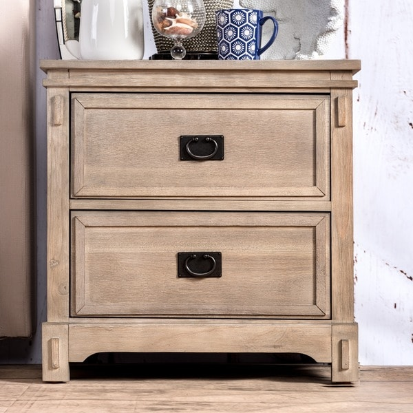 Furniture of America Godric Traditional Style Weathered Grey Nightstand