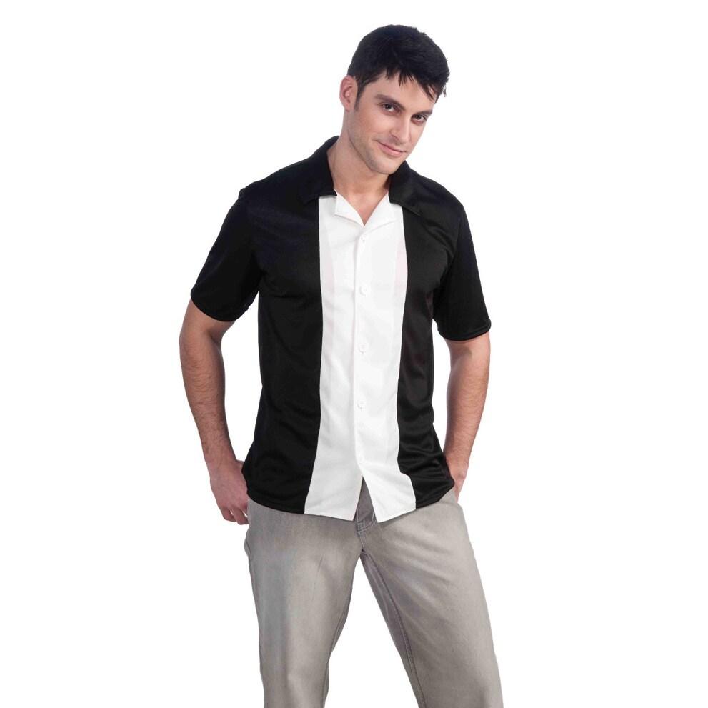 Men's Bowling Black/ White Shirt (Large), Size L (polyester)