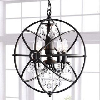 Carbon Loft Bidwell Antique Black 4-light Iron Orb Crystal Chandelier