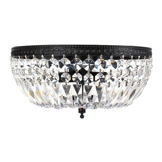 Silver Orchid Taylor 3-light Crystal Basket Flush Mount Chandelier